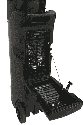 Bigfoot portable sound system - control panel open
